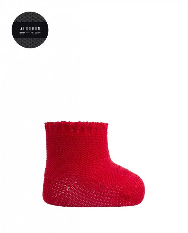 Chaussette en coton Links Color Rouge - 1