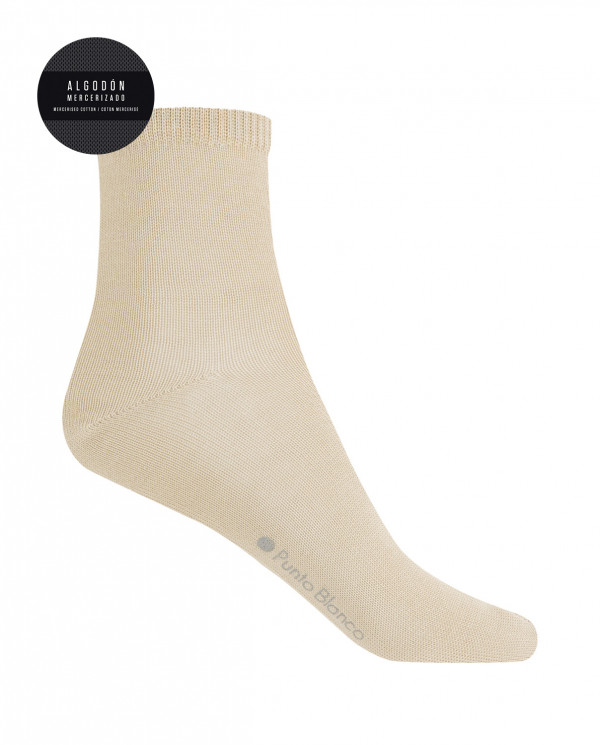 100% mercerised cotton sock - plain Color Beige - 1