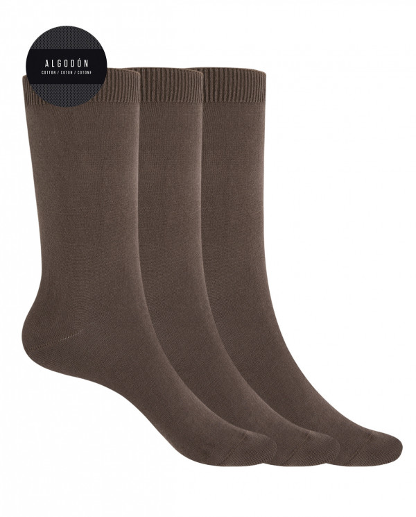 """Pack de 3 chaussettes en coton - unie """"Basix"""" Color Marron - 1"""