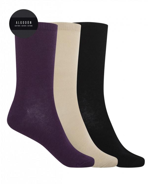 "3 pack cotton socks- plain ""Basix"" Color Assorted - 1"