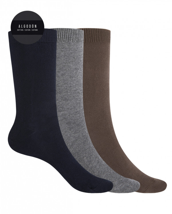 "3 pack cotton socks- plain ""Basix"" Color Assorted - 1"