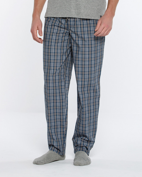Long squared fabric pants, Basix Color Marine - 1