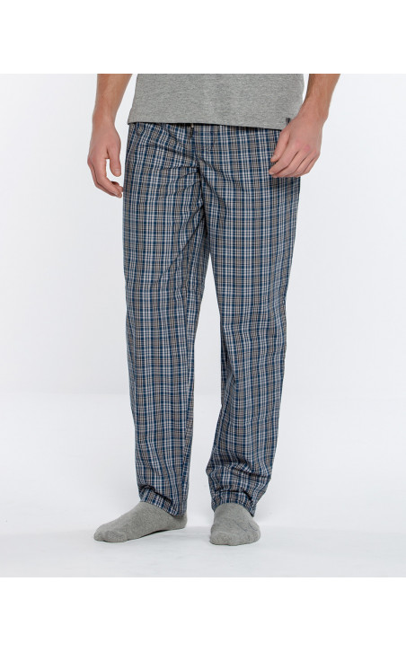 Pantalón de tela de cuadros, Basix Color Marino - 1