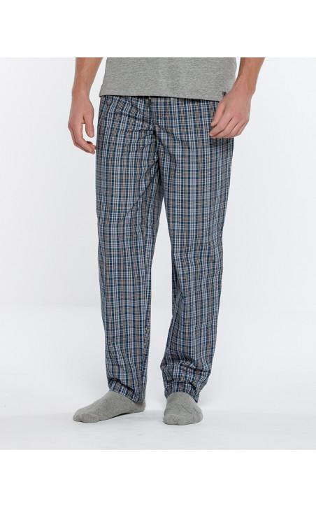 Pantalon long à carreaux, Basix Color Marin - 1