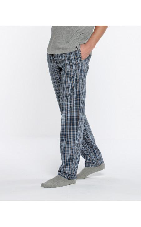 Pantalon long à carreaux, Basix Color Marin - 2