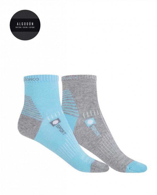 Pack de 2 chaussettes en coton sportives - semi unie Color Assorti - 1