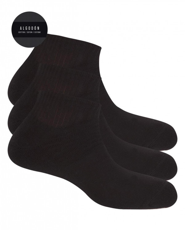 "3 pack cotton socks - plain ""plush"" Color Black - 1"