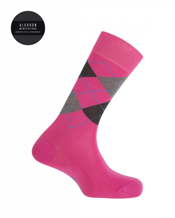 Calcetines algodón mercerizado - rombos Color Fucsia - 1