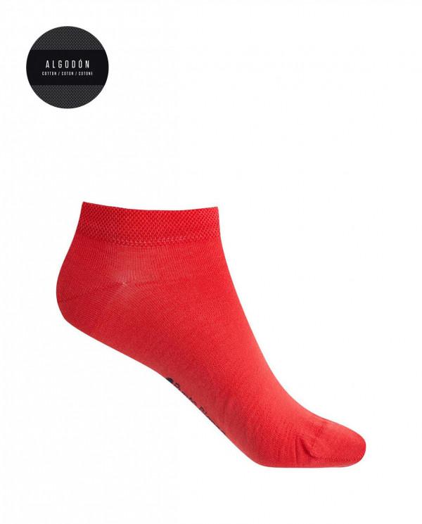 Chaussettes en coton- unies Couleur Rouge - 1