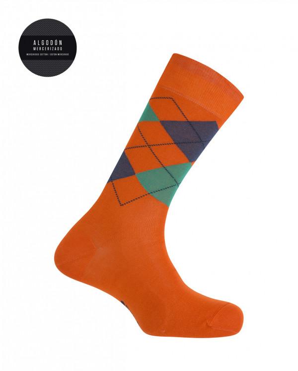 Calcetines algodón mercerizado - rombos Color Naranja - 1