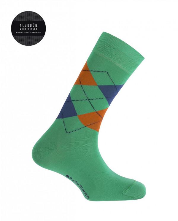 Mercerised cotton socks - diamonds Color Green - 1