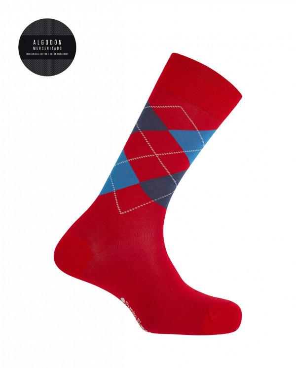 Mercerised cotton socks - diamonds Color Red - 1