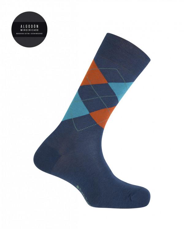 Calcetines algodón mercerizado - rombos Color Azul - 1