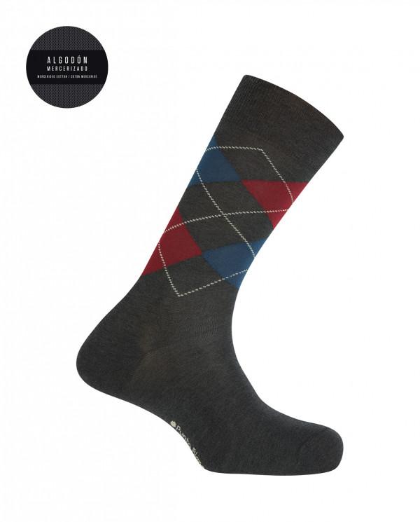Chaussettes en coton mercerisé - losanges Couleur Gris - 1
