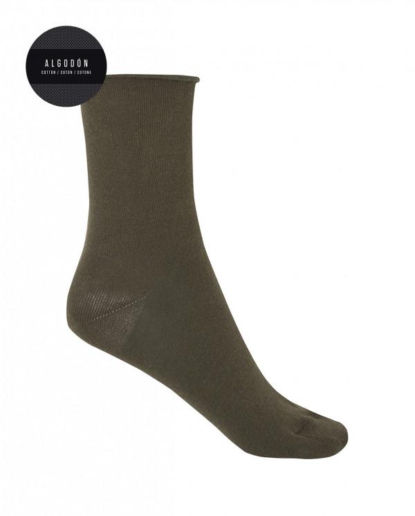 """Chaussettes en coton - unie """"bord-côte roulé"""" Couleur Noir - 1"""