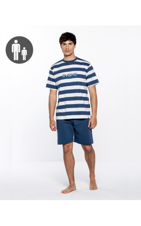 Short cotton and sailor stripes set, Evoke Color Navy - 1