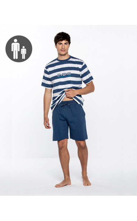 Short cotton and sailor stripes set, Evoke Color Navy - 1 - 2 - 3
