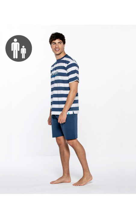 Short cotton and sailor stripes set, Evoke Color Navy - 1 - 2 - 3 - 4