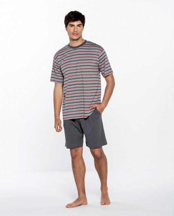 Short modal and cotton striped set, Empathy Color Grey - 1