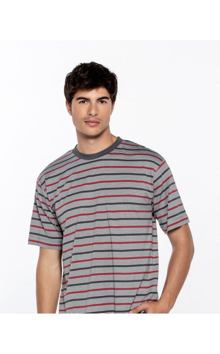 Short modal and cotton striped set, Empathy Color Grey - 1 - 2