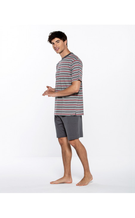 Short modal and cotton striped set, Empathy Color Grey - 1 - 2 - 3