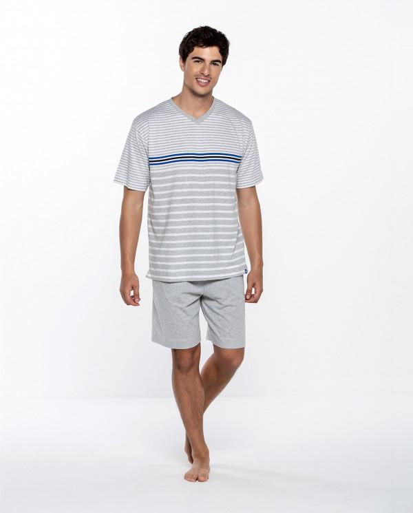 Short cotton set with stripes, Ensemble Color Grey - 1