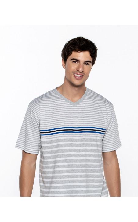 Short cotton set with stripes, Ensemble Color Grey - 1 - 2