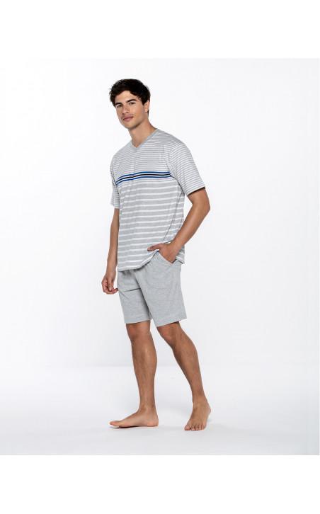 Short cotton set with stripes, Ensemble Color Grey - 1 - 2 - 3