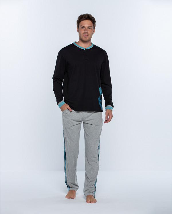 Pijama largo de algodón, Biometrix Color Negro - 1