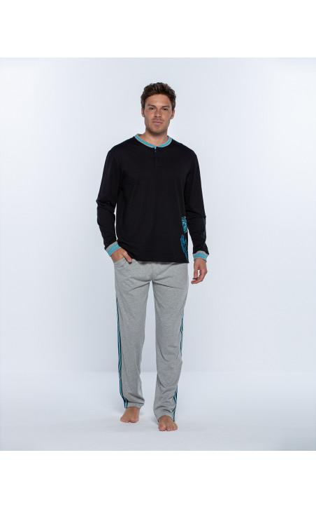 Pyjama long en coton, Biometrix Couleur Noir - 1