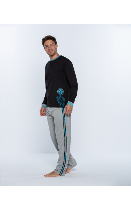 Long cotton homewear set, Biometrix Color Black - 1 - 2