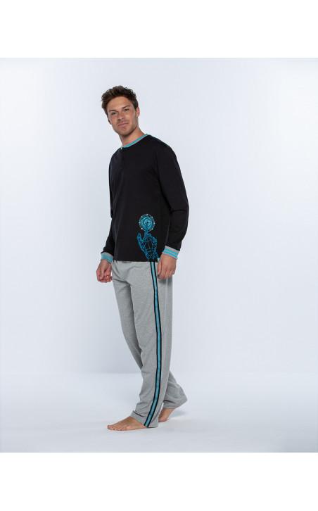 Pijama largo de algodón, Biometrix Color Negro - 1 - 2