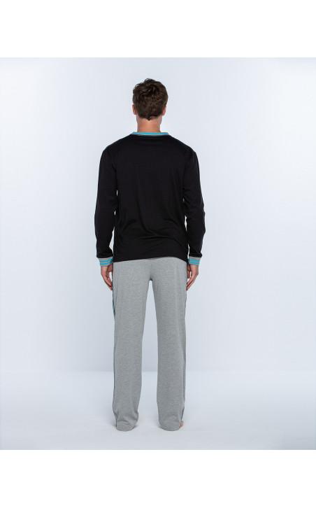 Pijama llarg de cotó, Biometrix Color Negre - 1 - 2 - 3