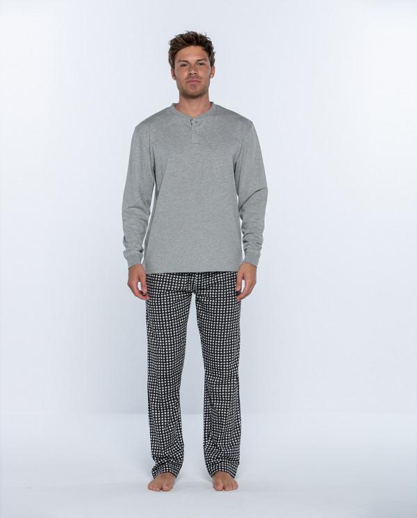 Pyjama long en coton, Cubik Couleur Gris - 1