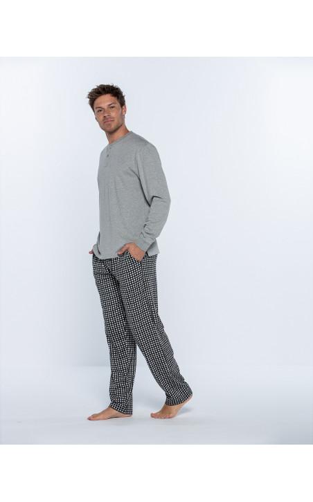 Pyjama long en coton, Cubik Couleur Gris - 1 - 2