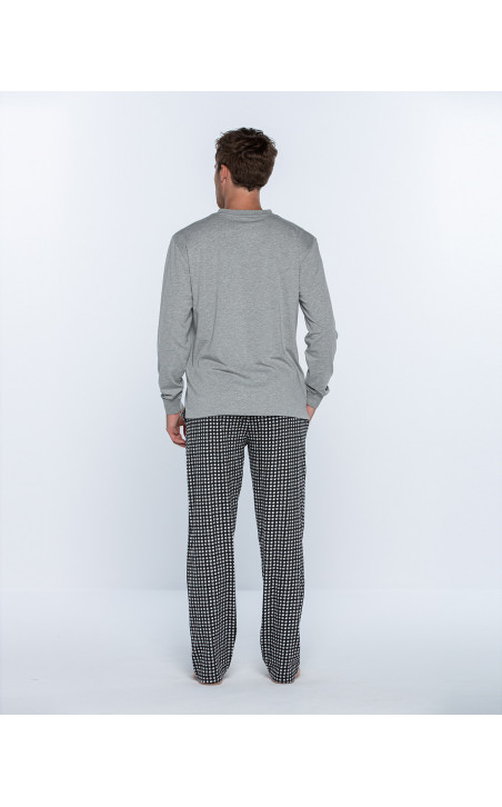 Pyjama long en coton, Cubik Couleur Gris - 1 - 2 - 3
