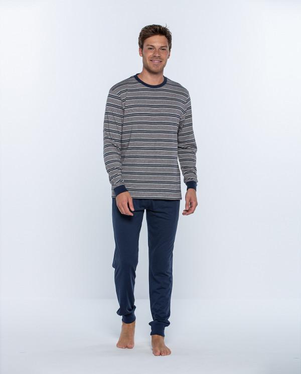 Long cotton and modal pyjama set, Magnetix Color Blue - 1