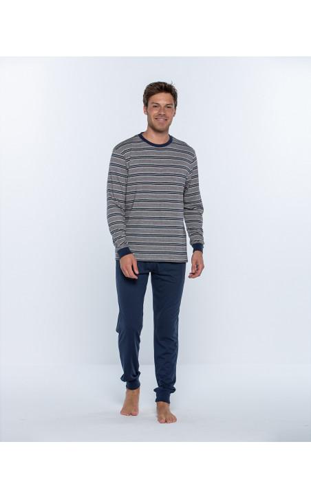 Pijama largo de algodón y modal, Magnetix Color Azul - 1