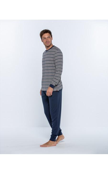 Long cotton and modal pyjama set, Magnetix Color Blue - 1 - 2