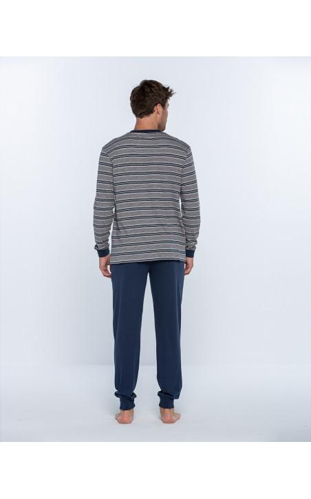 Pijama largo de algodón y modal, Magnetix Color Azul - 1 - 2 - 3