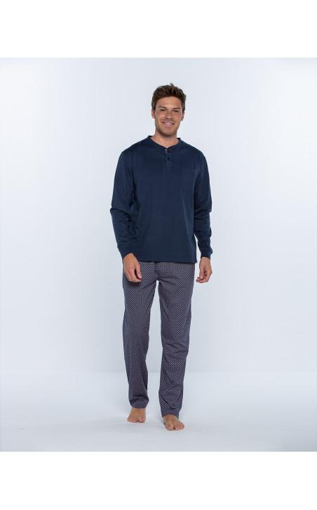 Pijama llarg de cotó, Magnetix Color Blau - 1