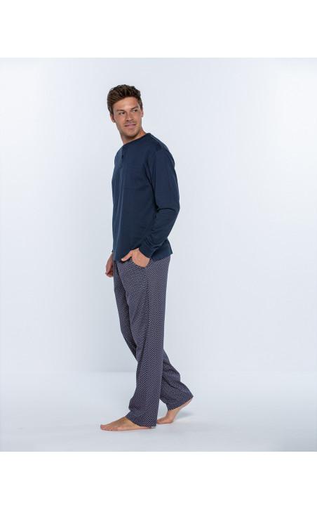 Pijama llarg de cotó, Magnetix Color Blau - 1 - 2