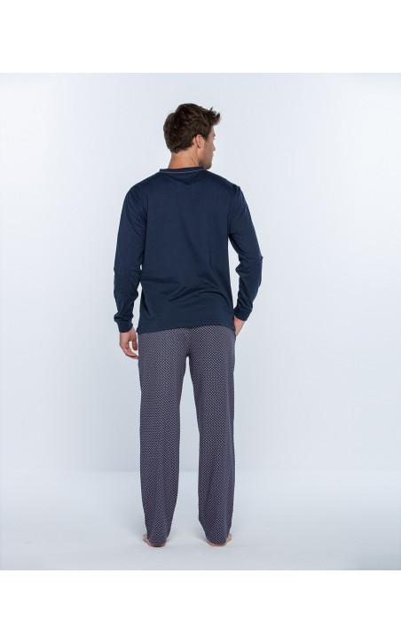 Long cotton pyjamas set, Magnetix Color Blue - 1 - 2 - 3