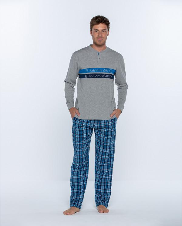 Pijama llarg de cotó i viella, Gravity Color Gris - 1