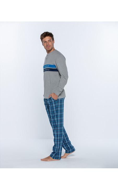 Pijama llarg de cotó i viella, Gravity Color Gris - 1 - 2