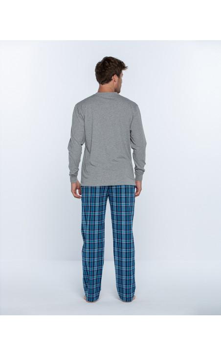 Pijama llarg de cotó i viella, Gravity Color Gris - 1 - 2 - 3
