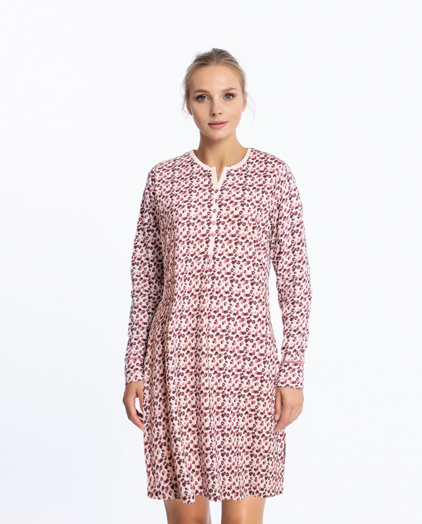Cotton nightgown, Stain Color Pink - 1