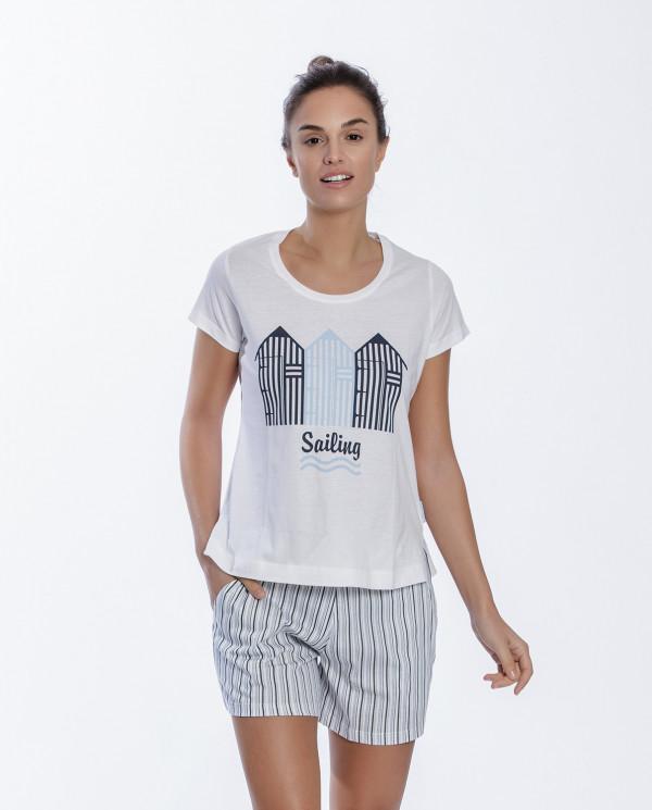 Short cotton set, Beach Color White - 1