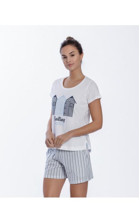 Short cotton set, Beach Color White - 1 - 2