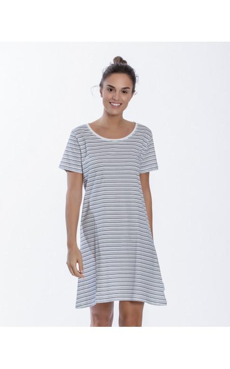 Chemise de nuit en coton, Beach Couleur Blanc - 1